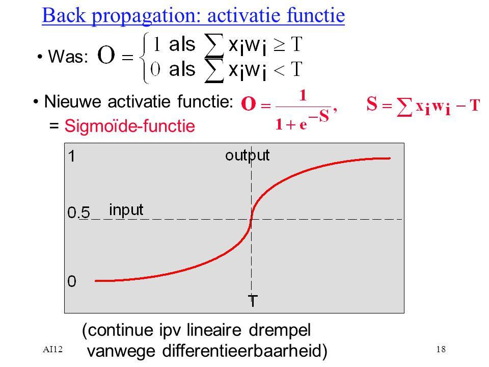 Back propagation: activatie functie
