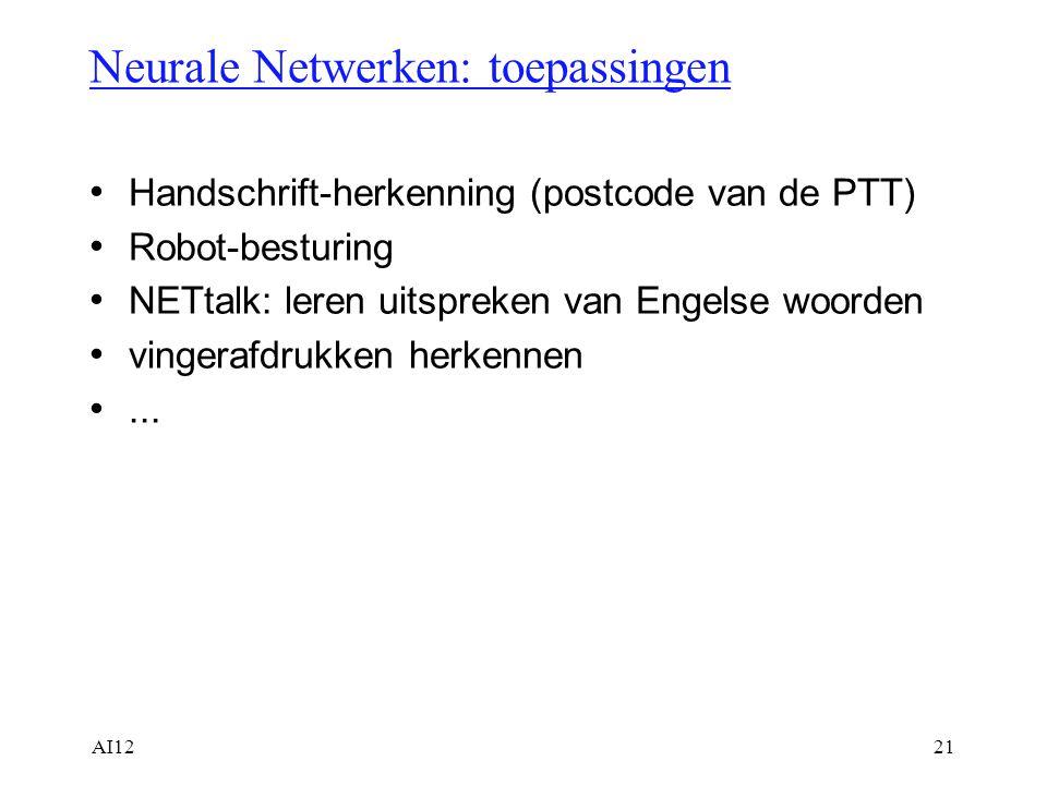 Neurale Netwerken: toepassingen
