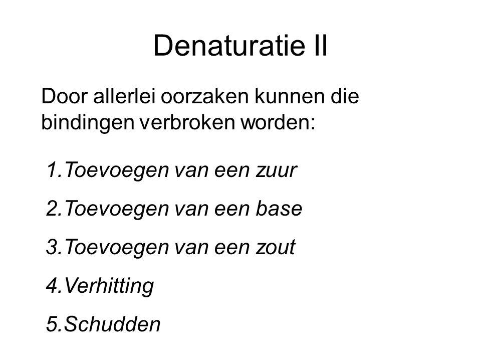 Denaturatie II Door allerlei oorzaken kunnen die bindingen verbroken worden: Toevoegen van een zuur.