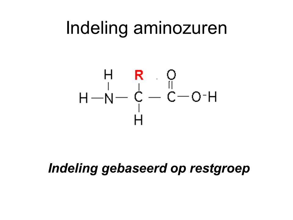 Indeling aminozuren Indeling gebaseerd op restgroep