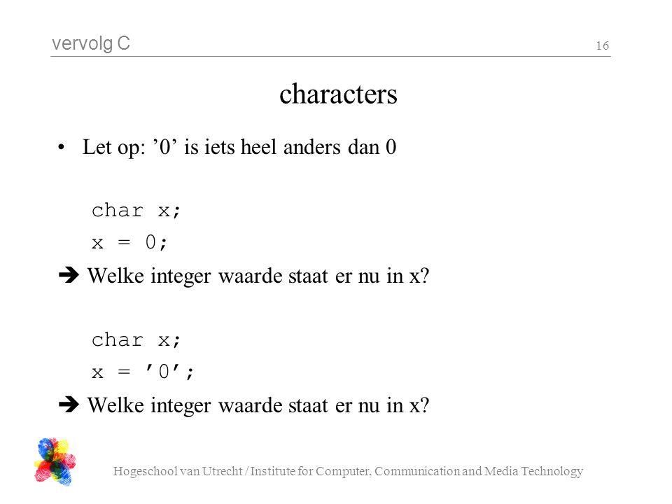 characters Let op: '0' is iets heel anders dan 0 char x; x = 0;