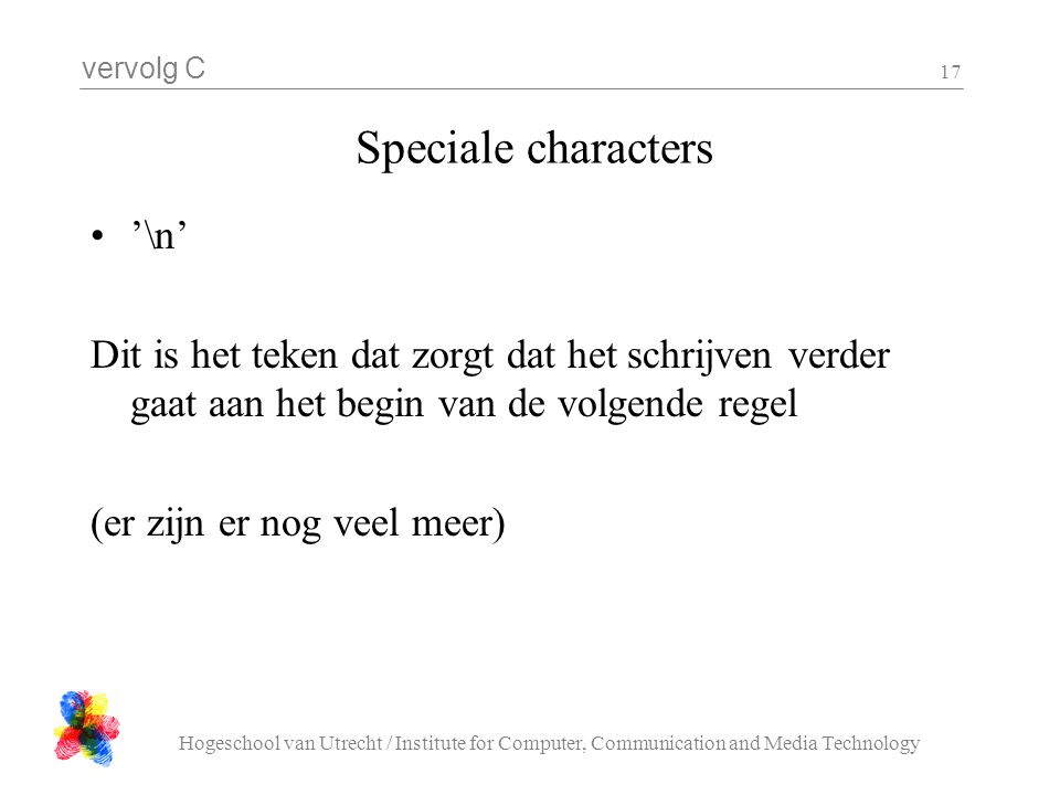 Speciale characters '\n'
