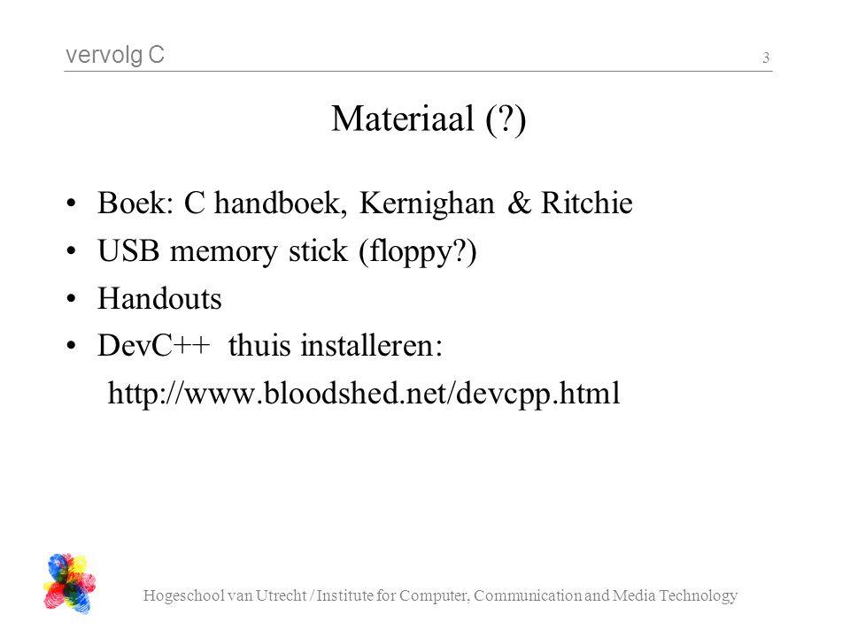 Materiaal ( ) Boek: C handboek, Kernighan & Ritchie