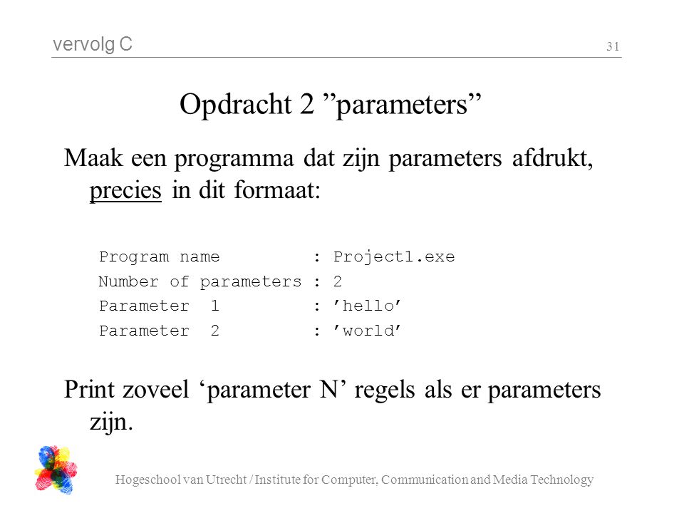 Opdracht 2 parameters