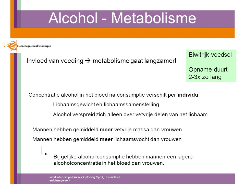 Alcohol - Metabolisme Eiwitrijk voedsel. Opname duurt 2-3x zo lang. Invloed van voeding  metabolisme gaat langzamer!