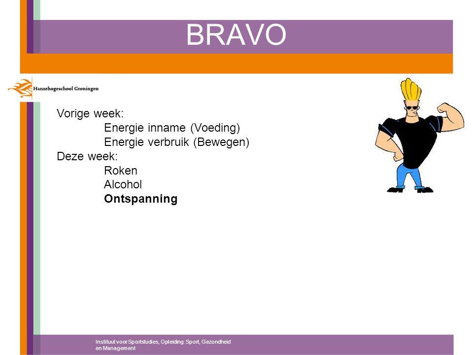 BRAVO Vorige week: Energie inname (Voeding) Energie verbruik (Bewegen)