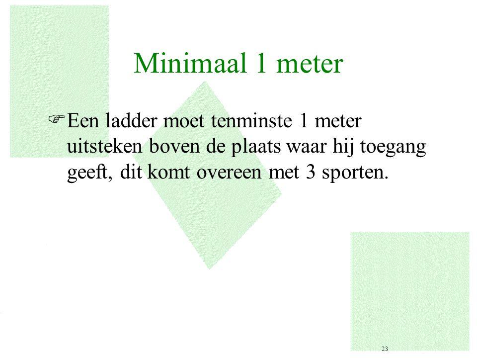 Minimaal 1 meter Een ladder moet tenminste 1 meter uitsteken boven de plaats waar hij toegang geeft, dit komt overeen met 3 sporten.