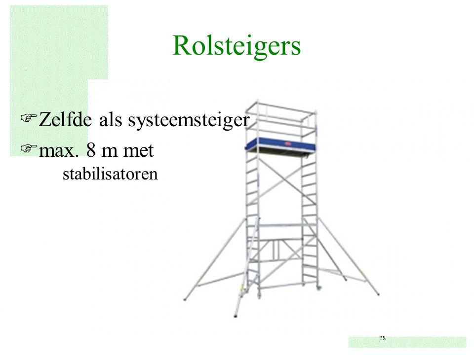 Rolsteigers Zelfde als systeemsteiger max. 8 m met stabilisatoren