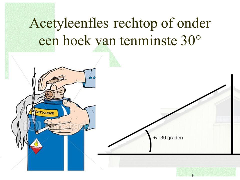 Acetyleenfles rechtop of onder een hoek van tenminste 30