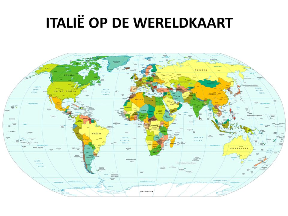 Italië op de wereldkaart