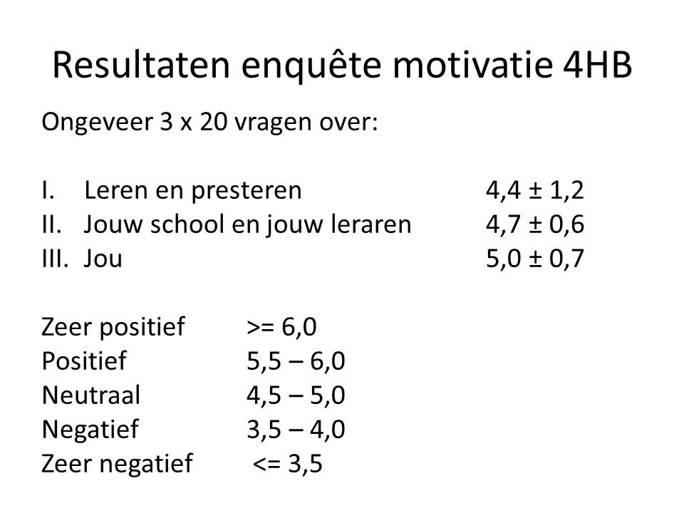 Resultaten enquête motivatie 4HB
