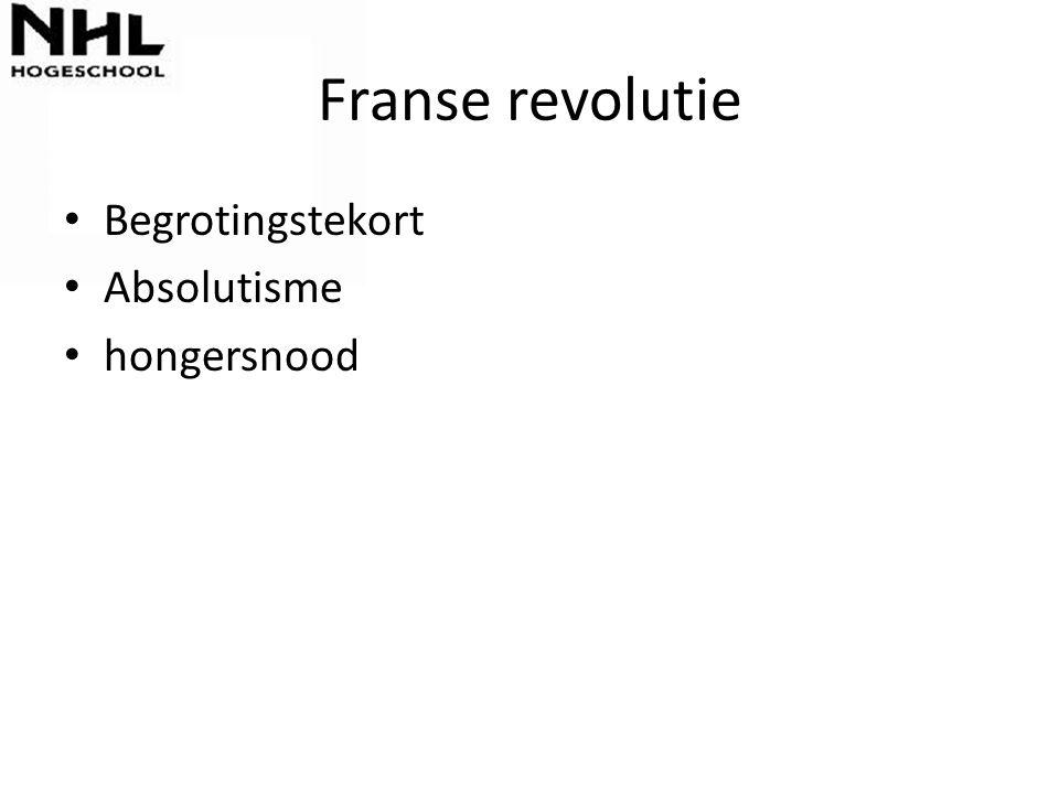 Franse revolutie Begrotingstekort Absolutisme hongersnood