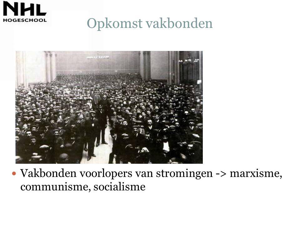 Opkomst vakbonden Vakbonden voorlopers van stromingen -> marxisme, communisme, socialisme