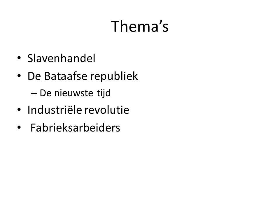 Thema's Slavenhandel De Bataafse republiek Industriële revolutie