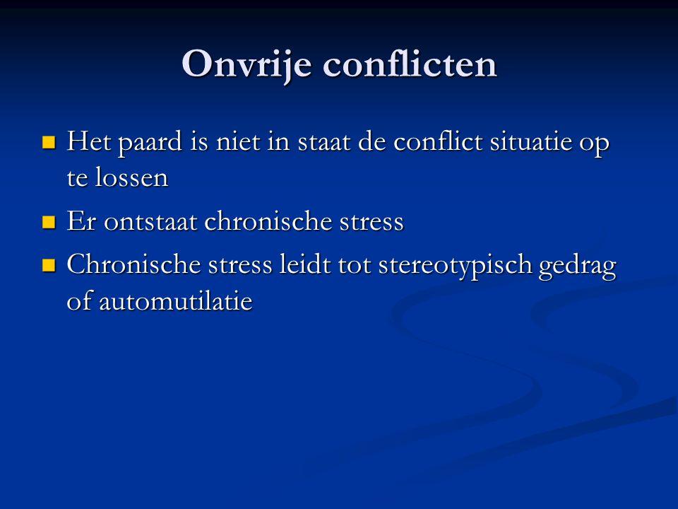 Onvrije conflicten Het paard is niet in staat de conflict situatie op te lossen. Er ontstaat chronische stress.