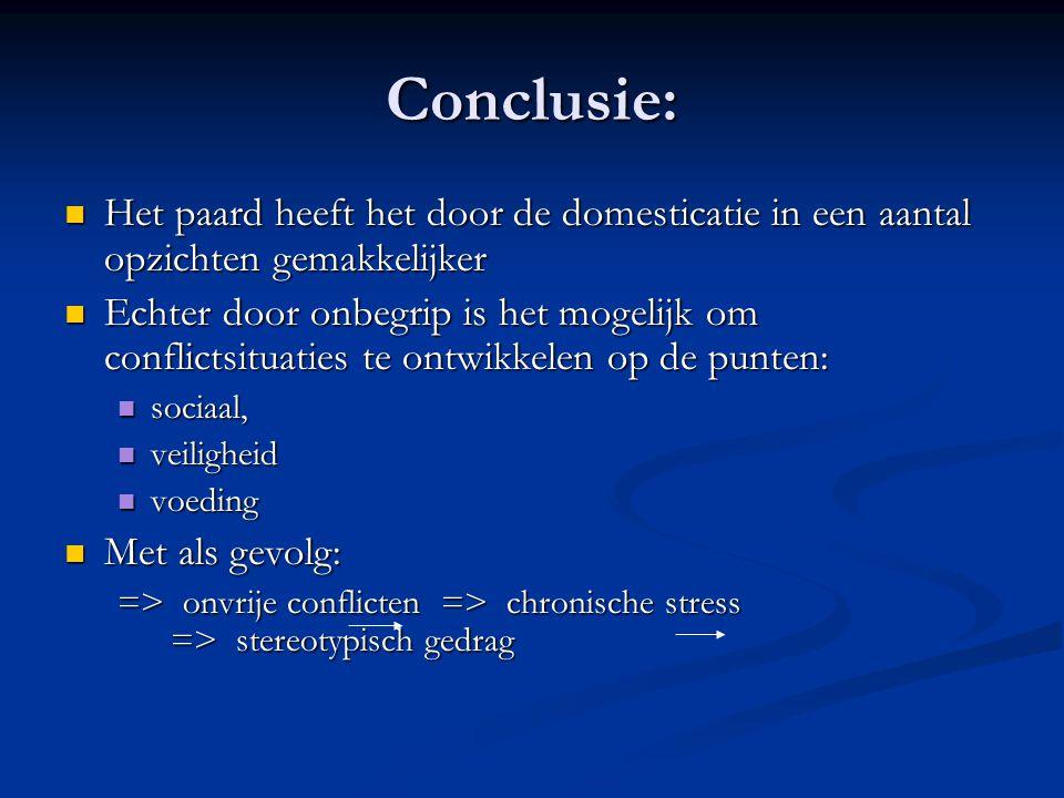 Conclusie: Het paard heeft het door de domesticatie in een aantal opzichten gemakkelijker.