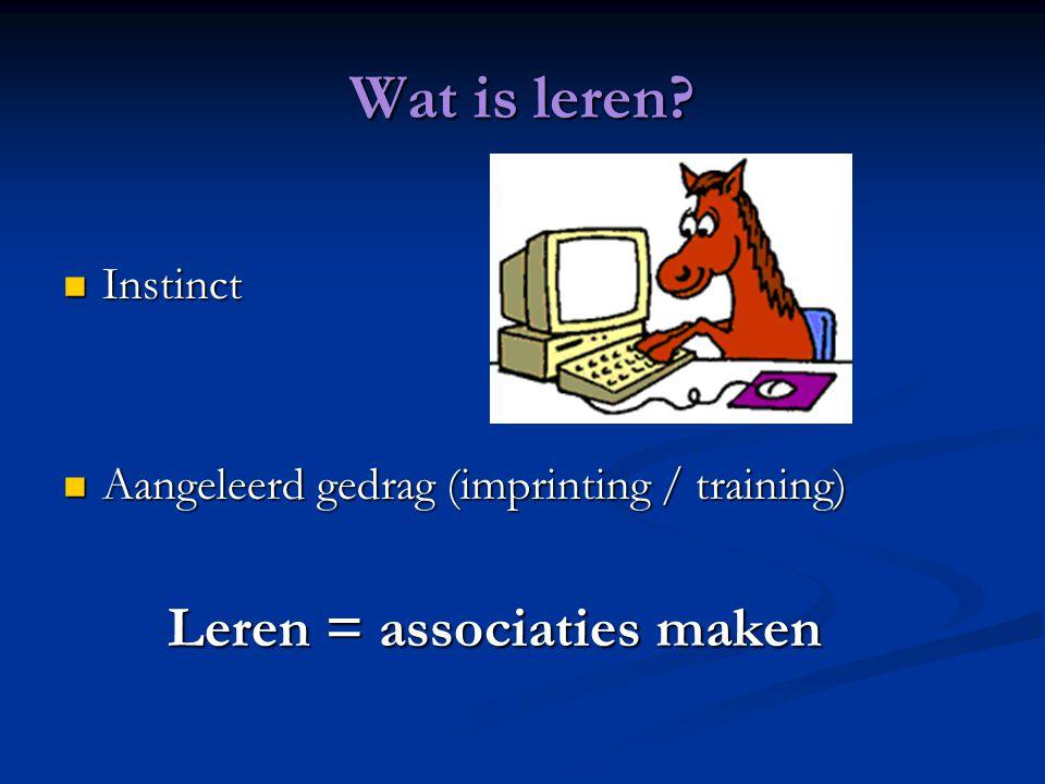 Wat is leren Instinct Aangeleerd gedrag (imprinting / training)