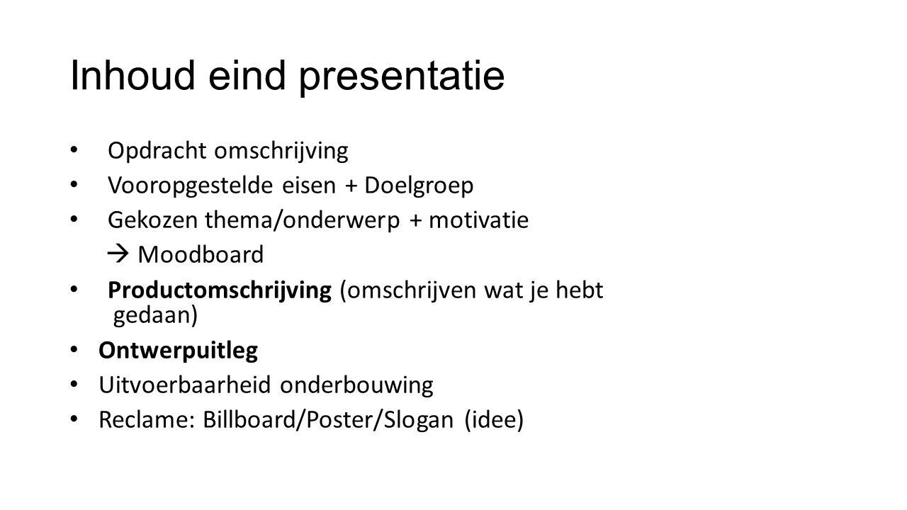 Inhoud eind presentatie