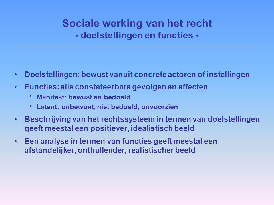 Sociale werking van het recht - doelstellingen en functies -