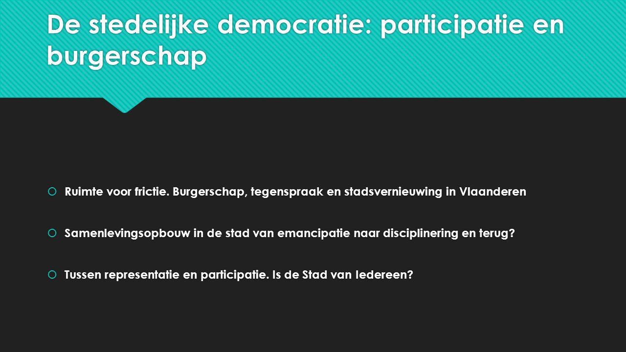 De stedelijke democratie: participatie en burgerschap