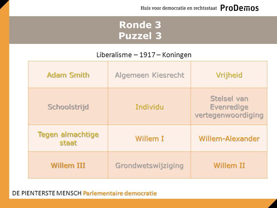 Ronde 3 Puzzel 3 Liberalisme – 1917 – Koningen Adam Smith