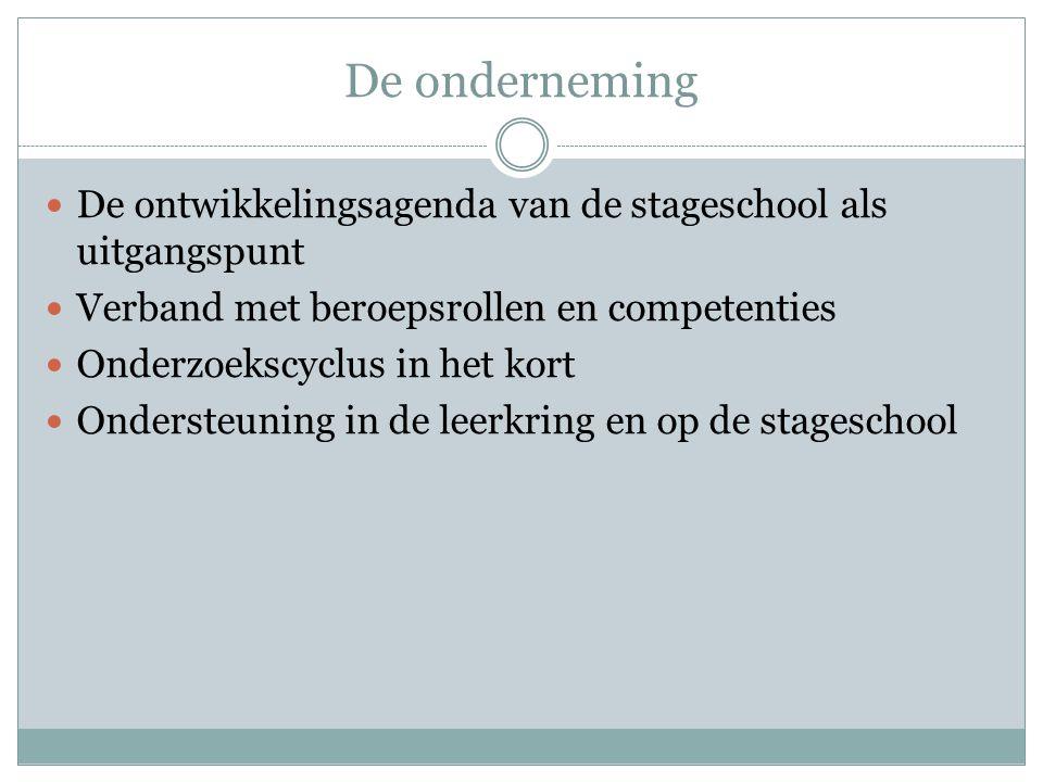 De onderneming De ontwikkelingsagenda van de stageschool als uitgangspunt. Verband met beroepsrollen en competenties.