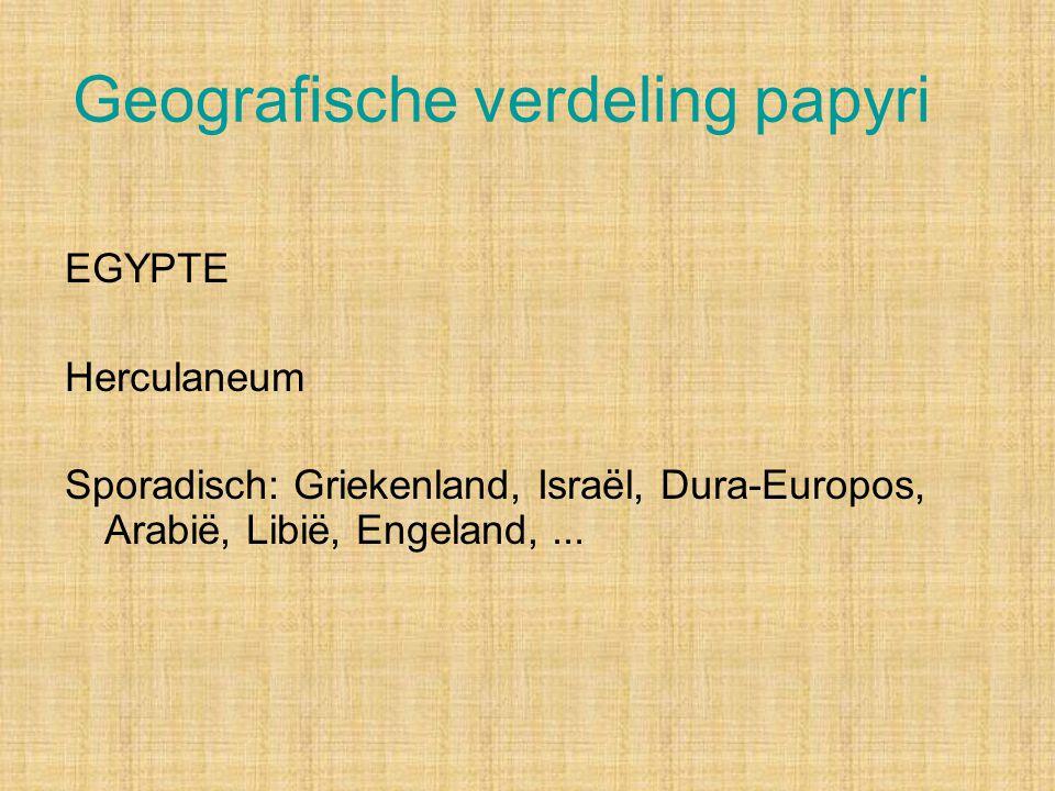 Geografische verdeling papyri