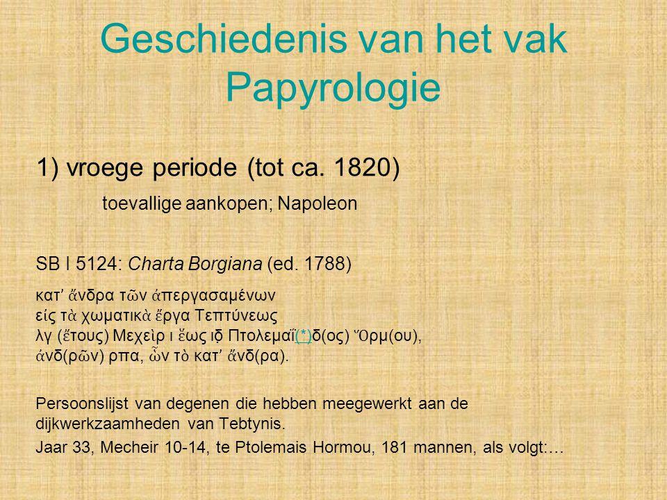 Geschiedenis van het vak Papyrologie