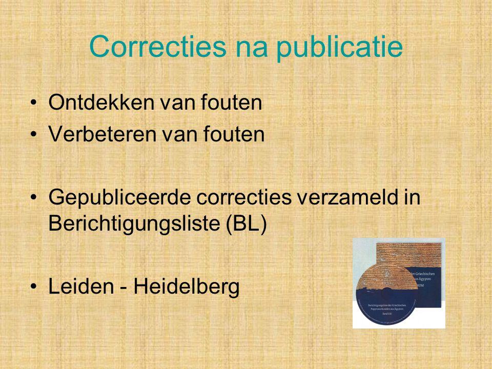 Correcties na publicatie