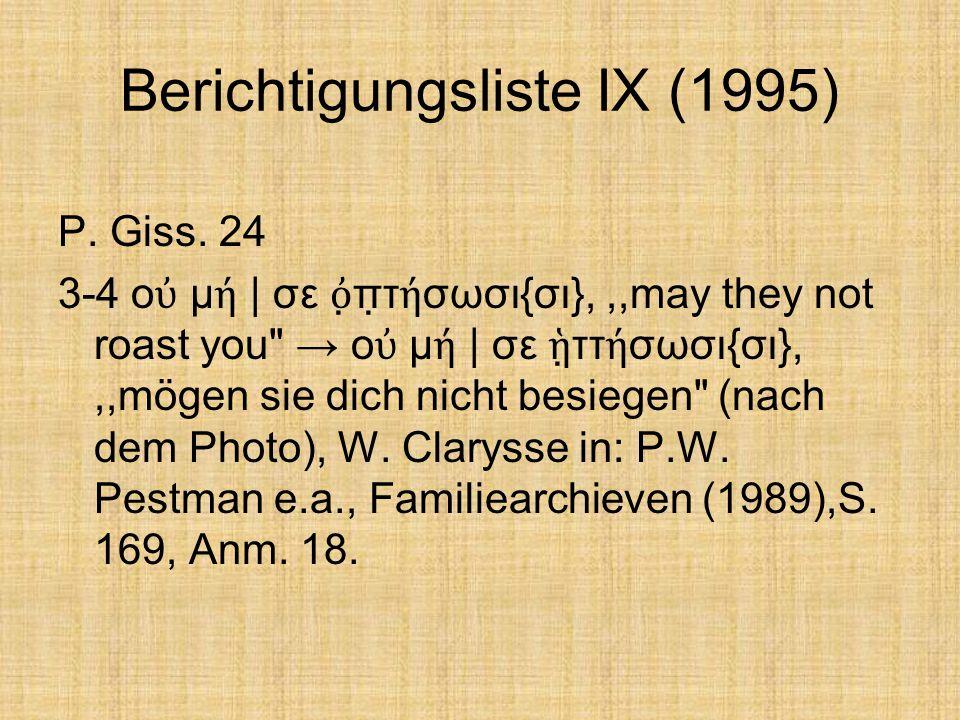 Berichtigungsliste IX (1995)