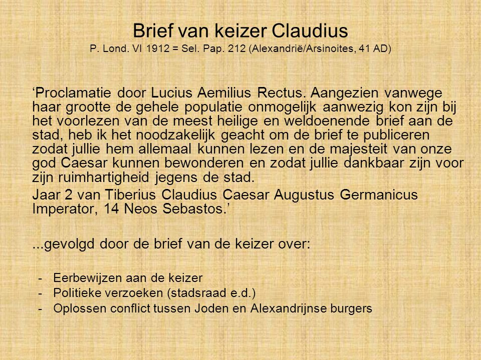 Brief van keizer Claudius P. Lond. VI 1912 = Sel. Pap