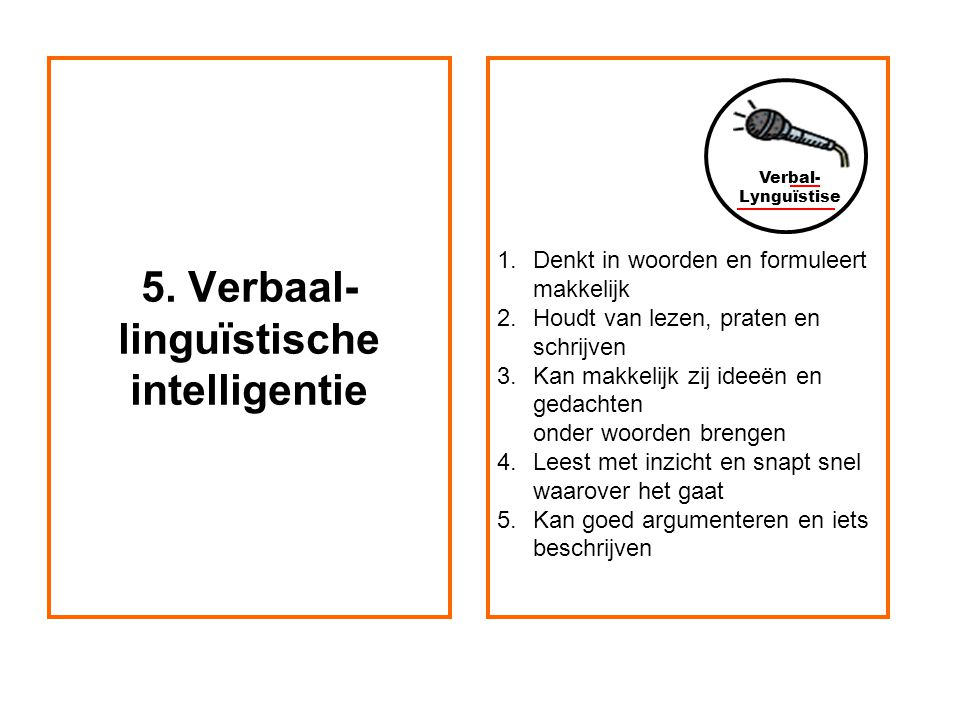 5. Verbaal-linguïstische intelligentie