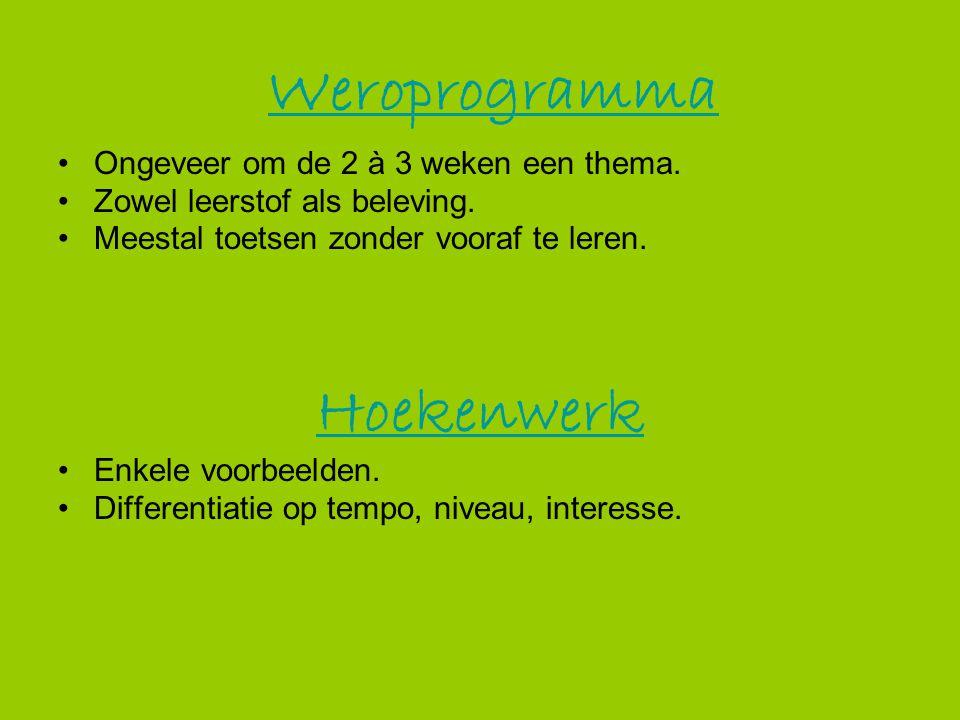 Weroprogramma Hoekenwerk Ongeveer om de 2 à 3 weken een thema.