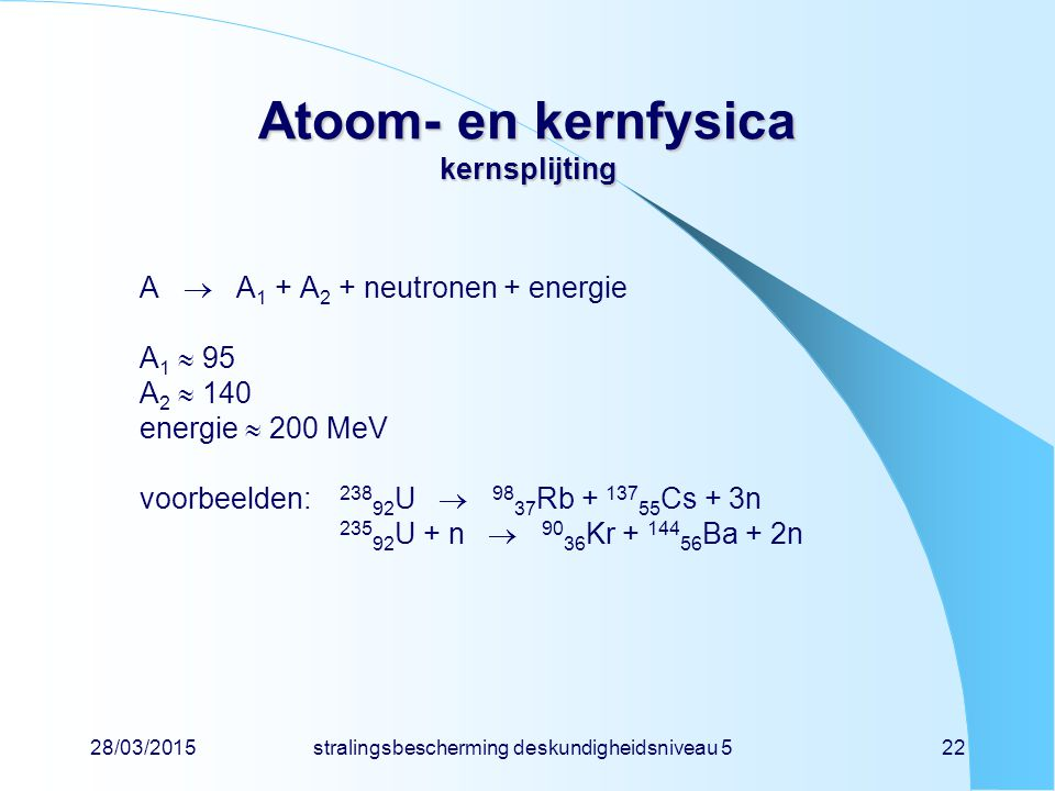 Atoom- en kernfysica kernsplijting