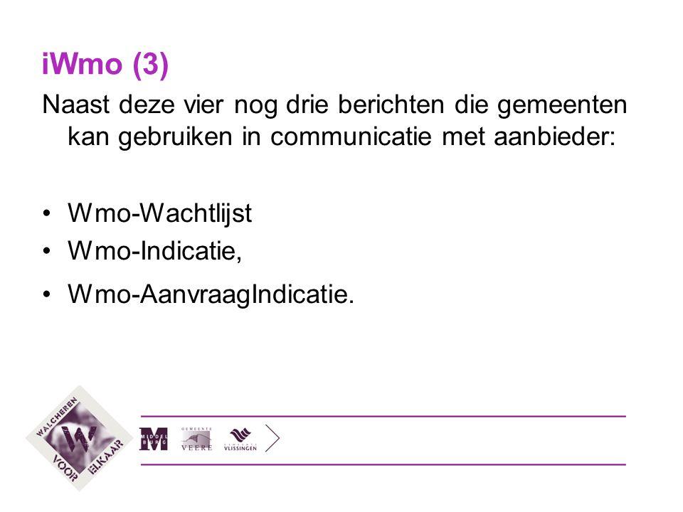 iWmo (3) Naast deze vier nog drie berichten die gemeenten kan gebruiken in communicatie met aanbieder:
