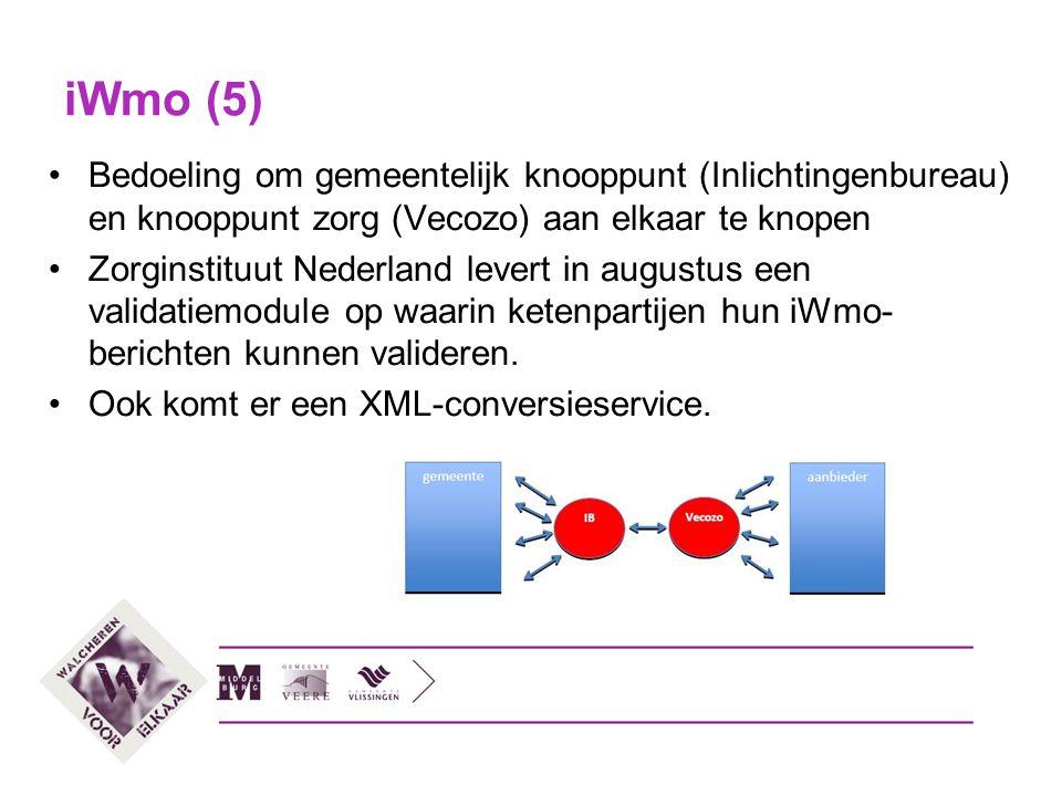iWmo (5) Bedoeling om gemeentelijk knooppunt (Inlichtingenbureau) en knooppunt zorg (Vecozo) aan elkaar te knopen.