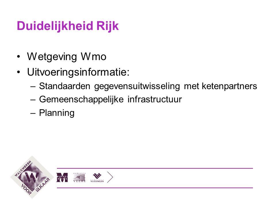 Duidelijkheid Rijk Wetgeving Wmo Uitvoeringsinformatie: