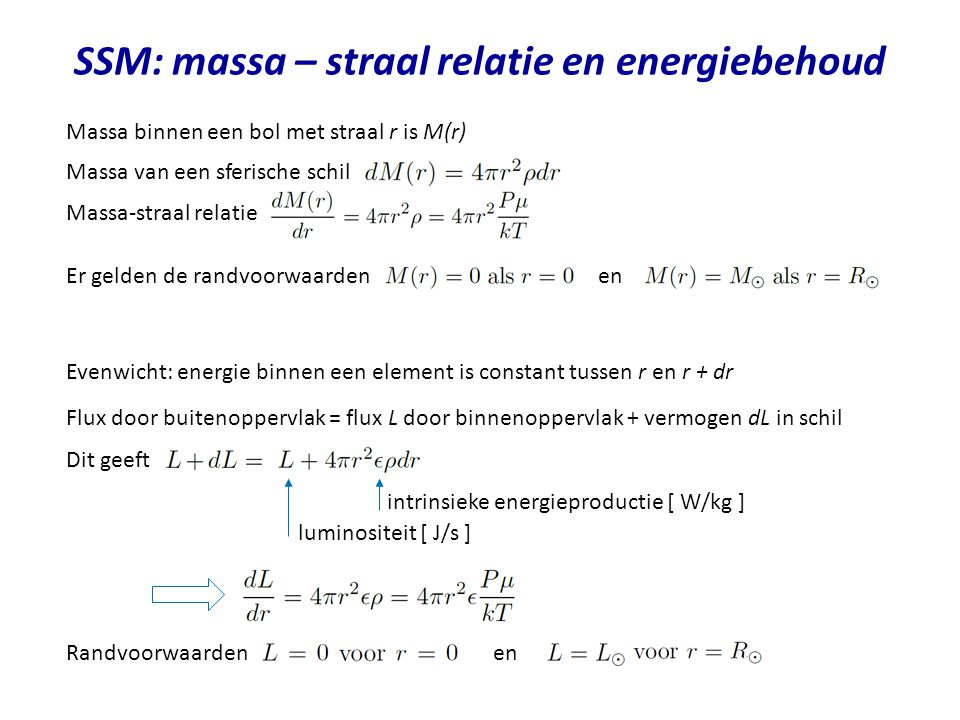 SSM: massa – straal relatie en energiebehoud