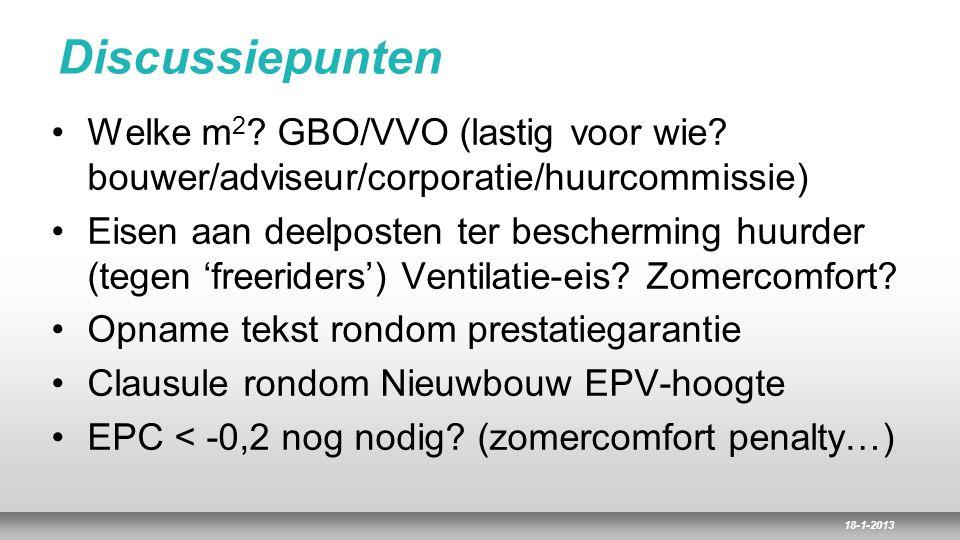 Discussiepunten Welke m2 GBO/VVO (lastig voor wie bouwer/adviseur/corporatie/huurcommissie)
