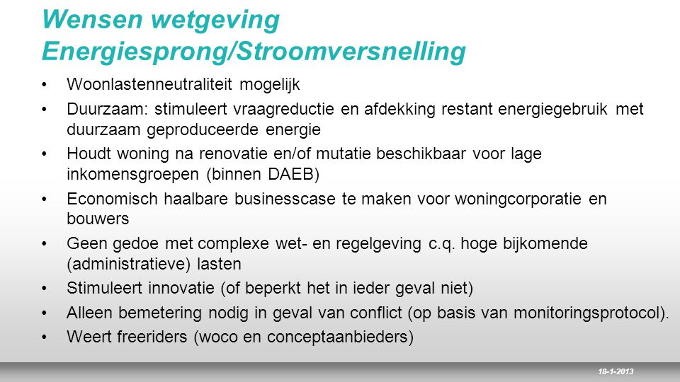 Wensen wetgeving Energiesprong/Stroomversnelling