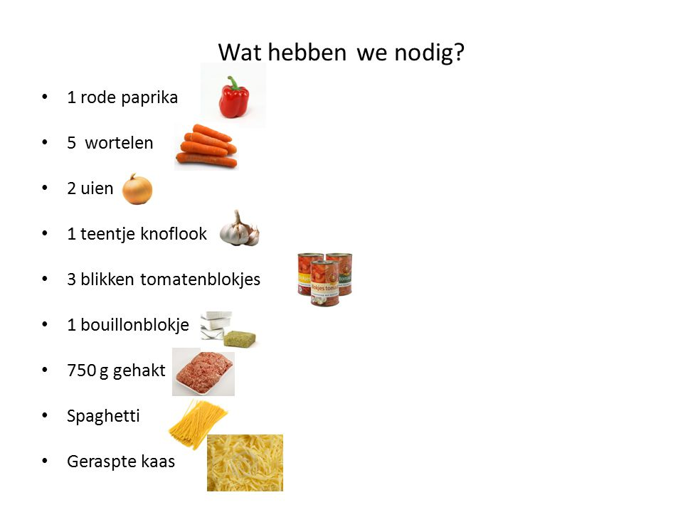 Wat hebben we nodig 1 rode paprika 5 wortelen 2 uien