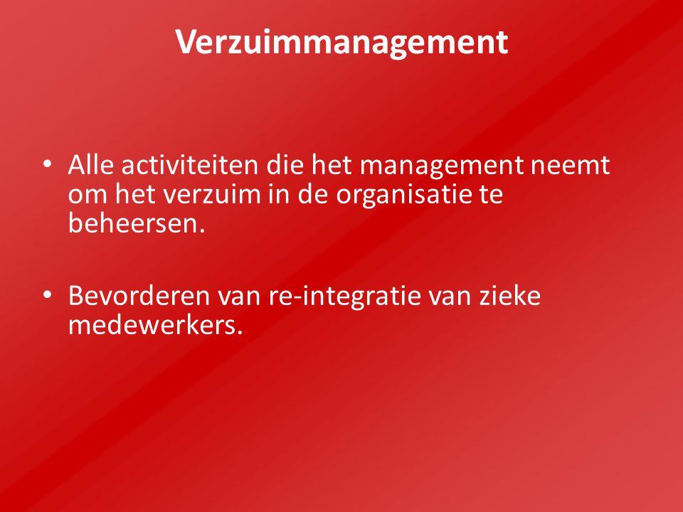 Verzuimmanagement Alle activiteiten die het management neemt om het verzuim in de organisatie te beheersen.