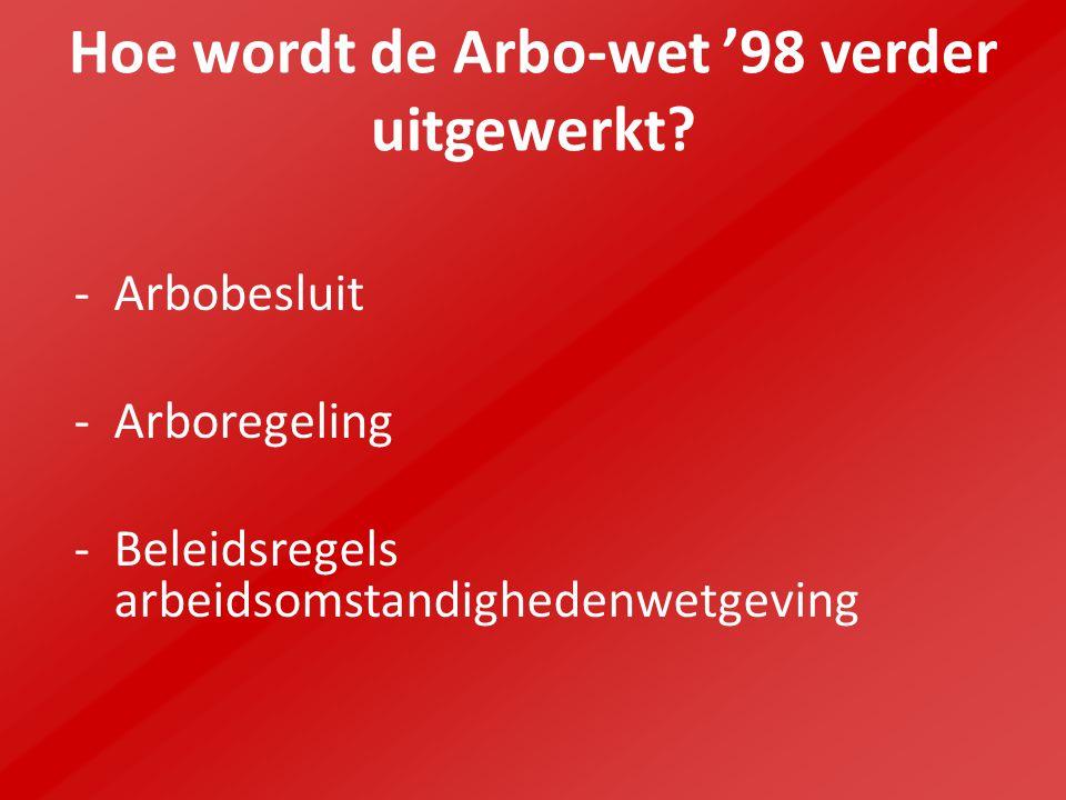 Hoe wordt de Arbo-wet '98 verder uitgewerkt