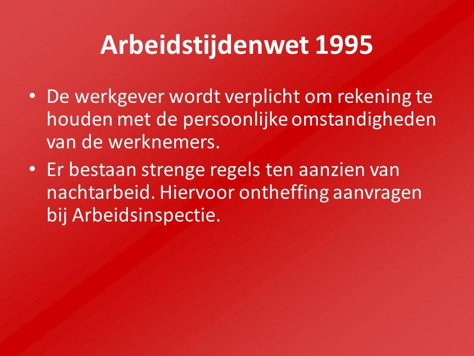Arbeidstijdenwet 1995 De werkgever wordt verplicht om rekening te houden met de persoonlijke omstandigheden van de werknemers.