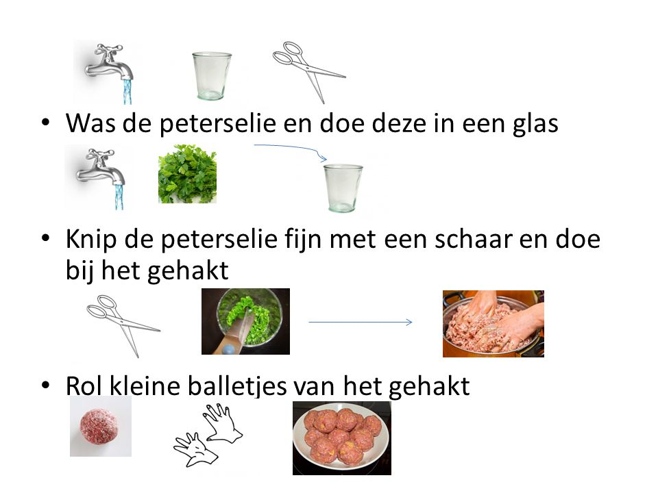 Was de peterselie en doe deze in een glas