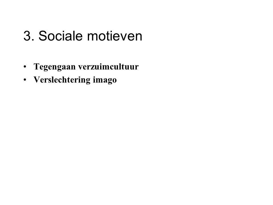 3. Sociale motieven Tegengaan verzuimcultuur Verslechtering imago