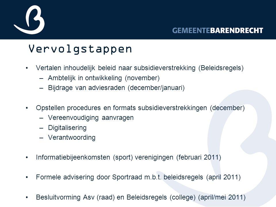 Vervolgstappen Vertalen inhoudelijk beleid naar subsidieverstrekking (Beleidsregels) Ambtelijk in ontwikkeling (november)