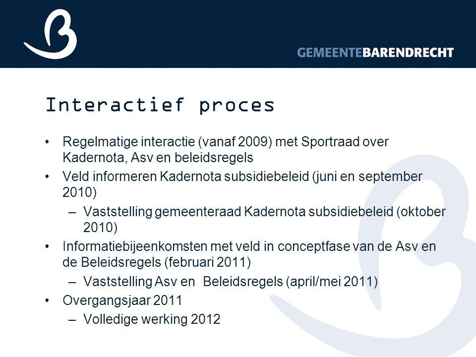 Interactief proces Regelmatige interactie (vanaf 2009) met Sportraad over Kadernota, Asv en beleidsregels.