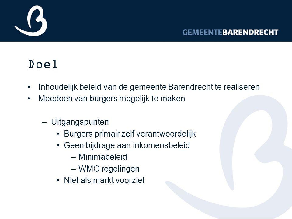 Doel Inhoudelijk beleid van de gemeente Barendrecht te realiseren