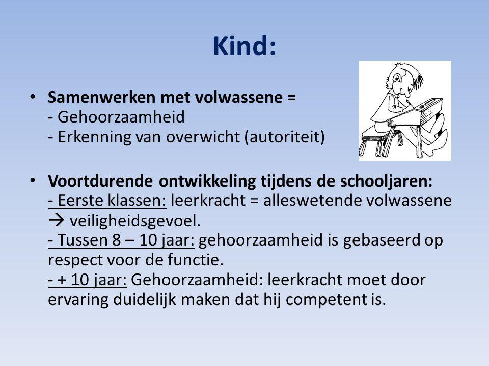Kind: Samenwerken met volwassene = - Gehoorzaamheid - Erkenning van overwicht (autoriteit)